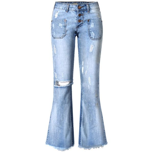 Blue Pockets Decoration Raw Edge Hem Jeans (62 AUD) ❤ liked on Polyvore featuring jeans, embellished pocket jeans, blue jeans, embellish jeans, flap-pocket jeans and raw edge jeans