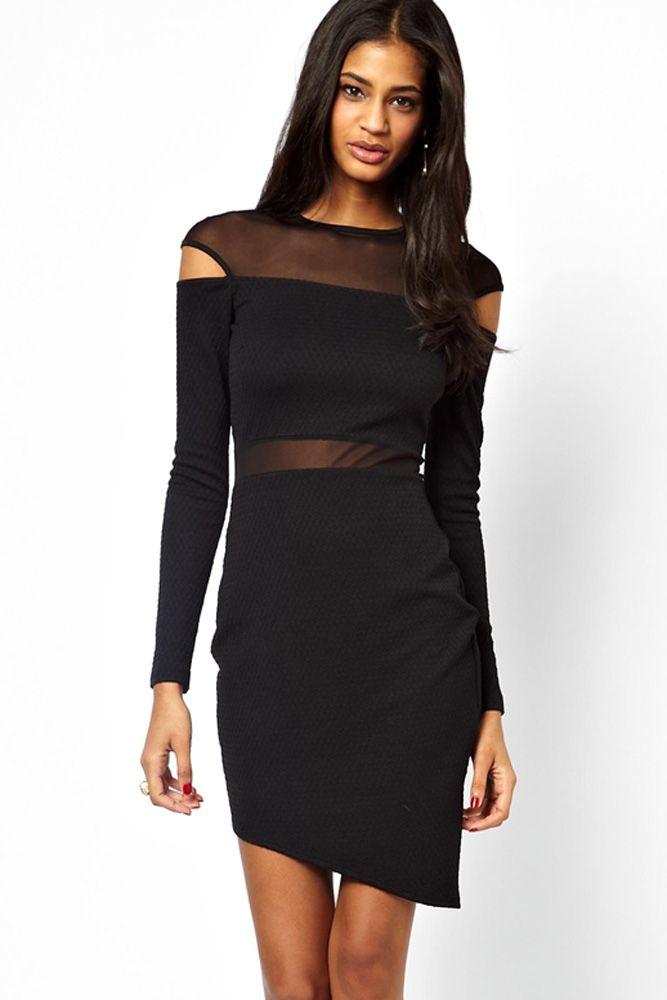 Black Bias Skirt Mesh Spliced Bodycon Dress