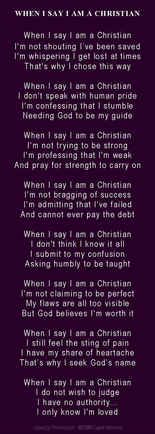 When I say I am a Christian poem on deep purple, with respect for this color and its deeply significant meaning in our spiritual lives ...