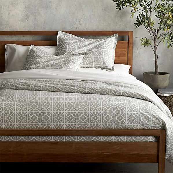 Neutral bedspread if we had brighter accent colors elsewhere (accent wall?)   Taza Grey Duvet Covers and Pillow Shams