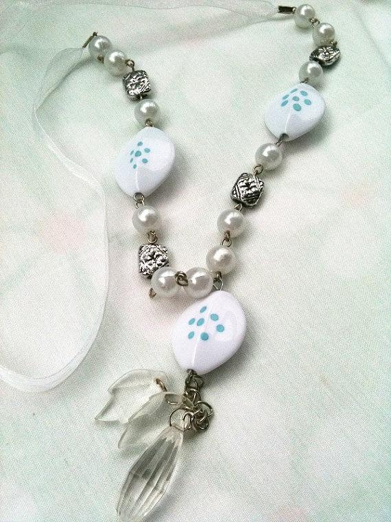 The Necklace with white Beadbirthdaypartywedding by ArtofAccessory, $15.99: Jewelry Design