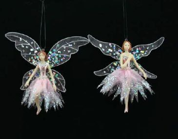Gisela Graham - 2 Flower Fairy Hanging White and Pink Christmas Tree Decorations (A) by Gisela Graham