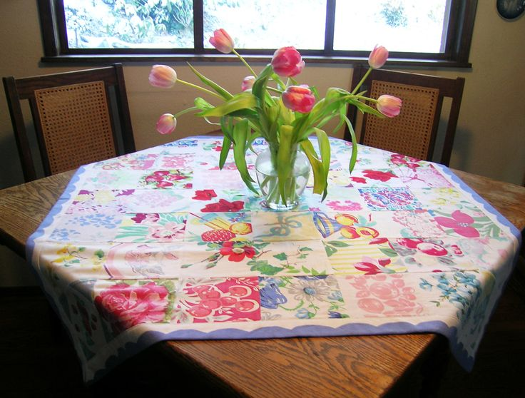 TableCloths from recycled linens -- cut up the rest of the cloths to make reusable...