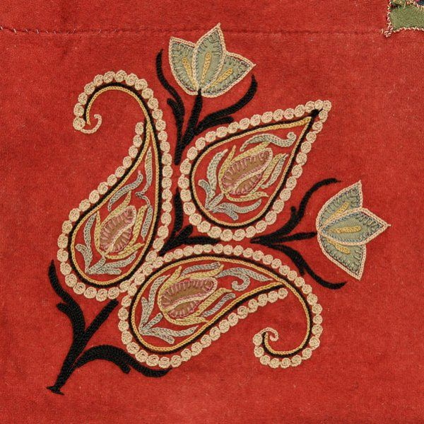 Resht Embroidery - silk embroidery on silk or wool brick red ground, cotton backing, finely embroidered throughout, Persian, 19th century