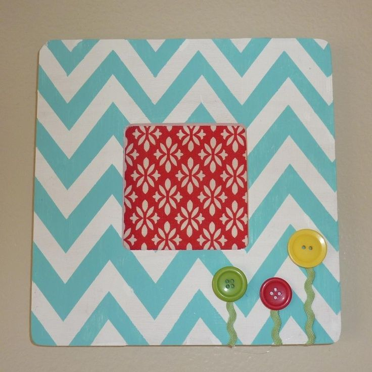 "Chevron aqua and white picture frame - DIY Cute ""flowers"""