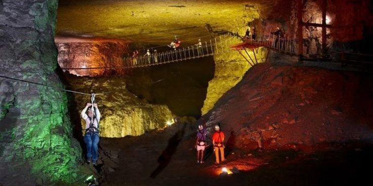 You can zip line underground through 17 miles of these Kentucky caves!