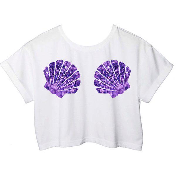 Mermaid Shell Crop Top Little Mermaid Lady Gaga Kawaii Tumblr Purple... ($16) ❤ liked on Polyvore featuring tops, shirts, crop tops, crop, purple crop top, disney shirts, cocktail tops, shell tops and disney tops