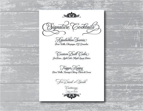 Custom Signature Cocktails Menu DIY Wedding by CreativePapier, $10.00