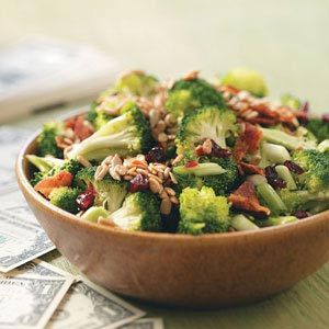 Crunchy Broccoli Salad- MY FAVORITE!!!  Delicious!! I used a coleslaw type, sweet tangy dressing for this and I also put grape tomatoes in it and red onion.