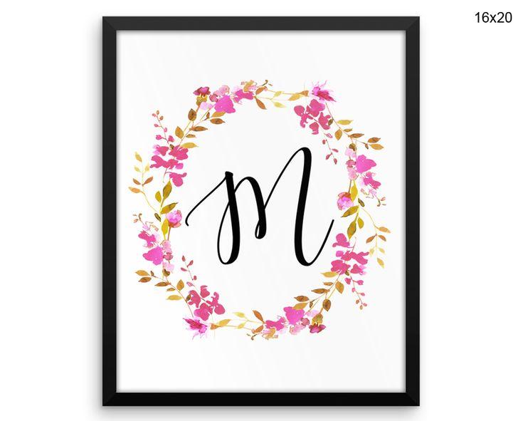 M Canvas Art M Printed M Letters Art M Letters Print M Framed Art M Monogram Floral Canvas Art M Canvas Art M Printed M Letters Art Initial #canvas #frame