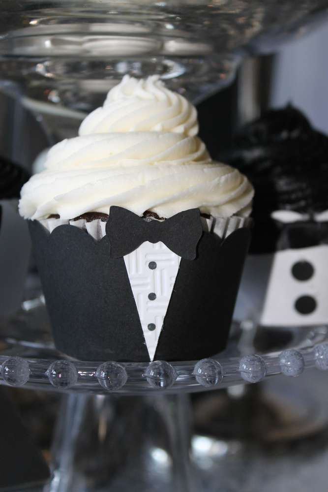 Tuxedo birthday party cupcakes! See more party planning ideas at CatchMyParty.com!