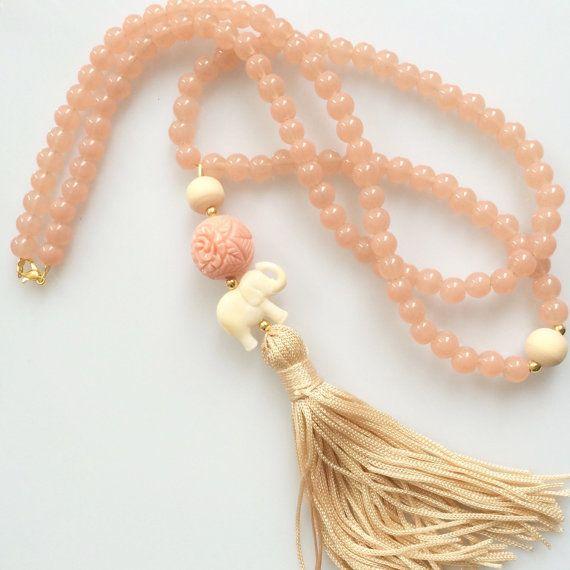 Light pink Tassel Necklace. Mala long beaded necklace. Bohemian elephant summer…
