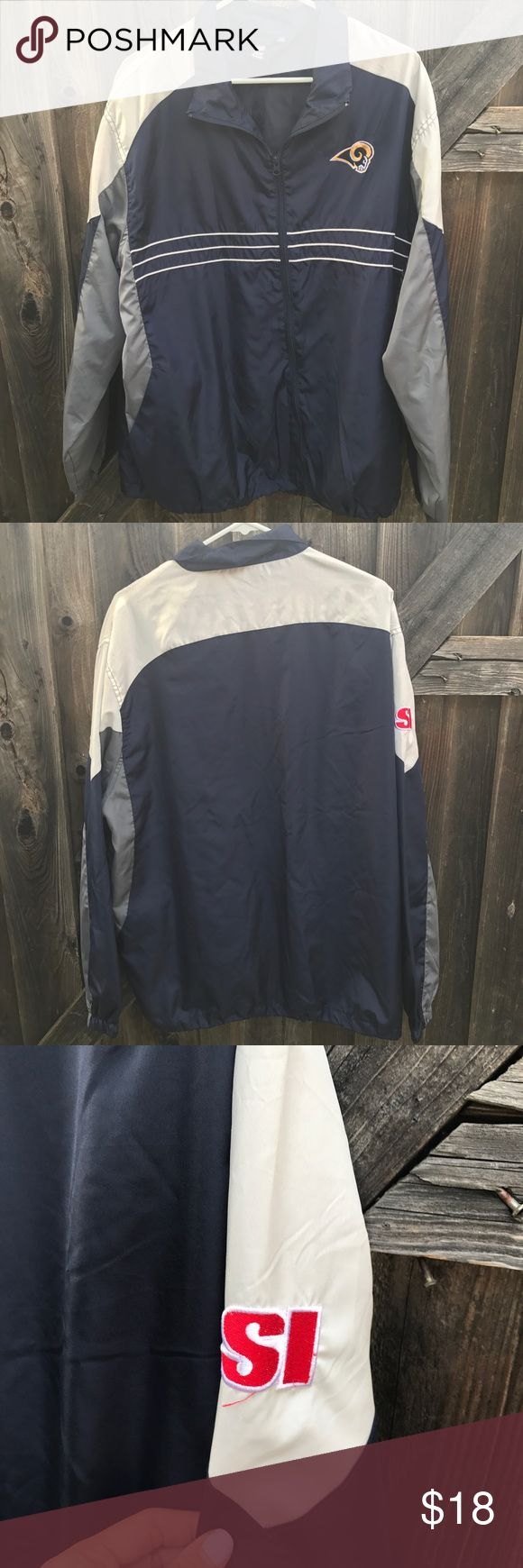 NFL men's Light Weight Jacket NFL team apparel rebook los angeles rams men's light weight jacket  Size Xl  No stains or rips  Length 20 inches Armpit to armpit 26.5 Shoulder to shoulder 21 Arm length from shoulder 33.5 A20 NFL Jackets & Coats Lightweight & Shirt Jackets