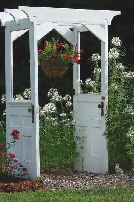 Garden arbor made from two old doors