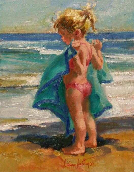 """Warm Towel"" - oil by ©Corinne Hartley (via Jones & Terwilliger Galleries)"