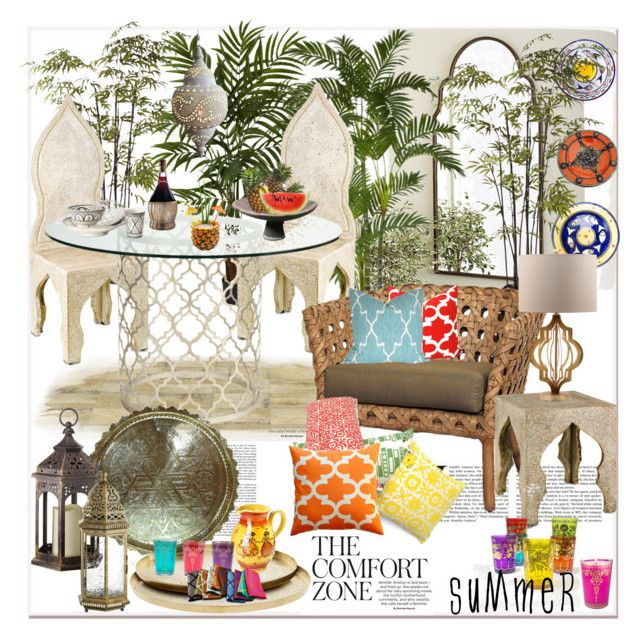 """morocco style...outdoor dining...."" by nihal-imsk-cam on Polyvore featuring interior, interiors, interior design, ev, home decor, interior decorating, Pier 1 Imports, Ballard Designs, Nearly Natural ve Currey & Company"