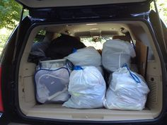 Top 12 Dorm Shopping Mistakes College move-in day and trash bags stand in for matched luggage!