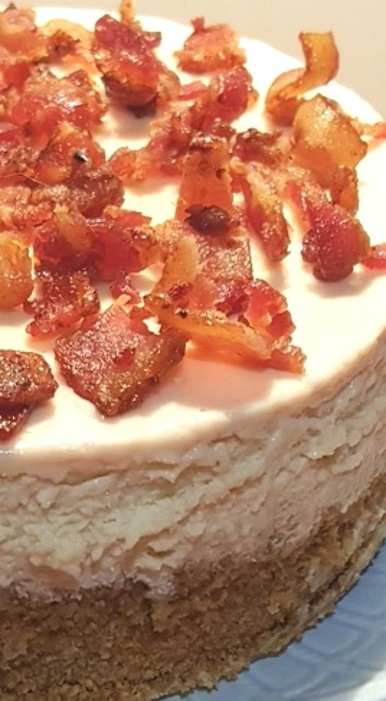 Pressure Cooker Maple Bacon Cheesecake with Candied Bacon.