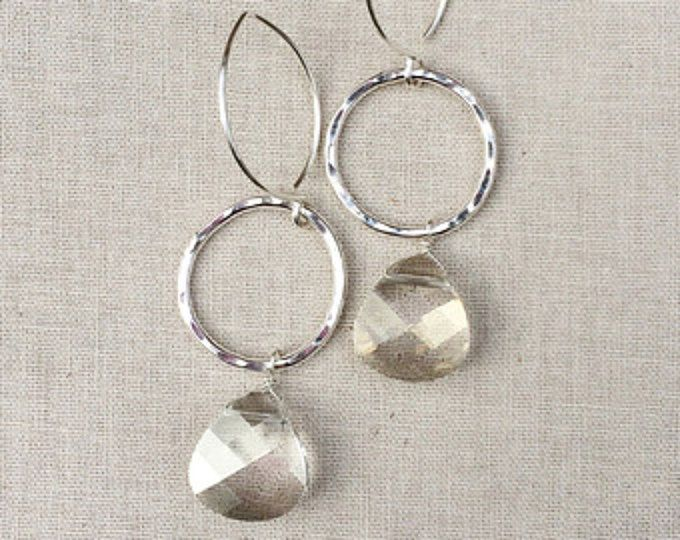 Sara~Swarovski Crystal & Sterling Silver Hand Forged Earrings~Silver Shade