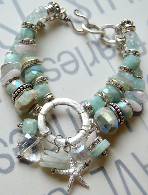 ON SALE bracelet, aquamarine bracelet, starfish bracelet, chunky bracelet, multi strand bracelet, artisan bracelet, artisan, ooak, for her