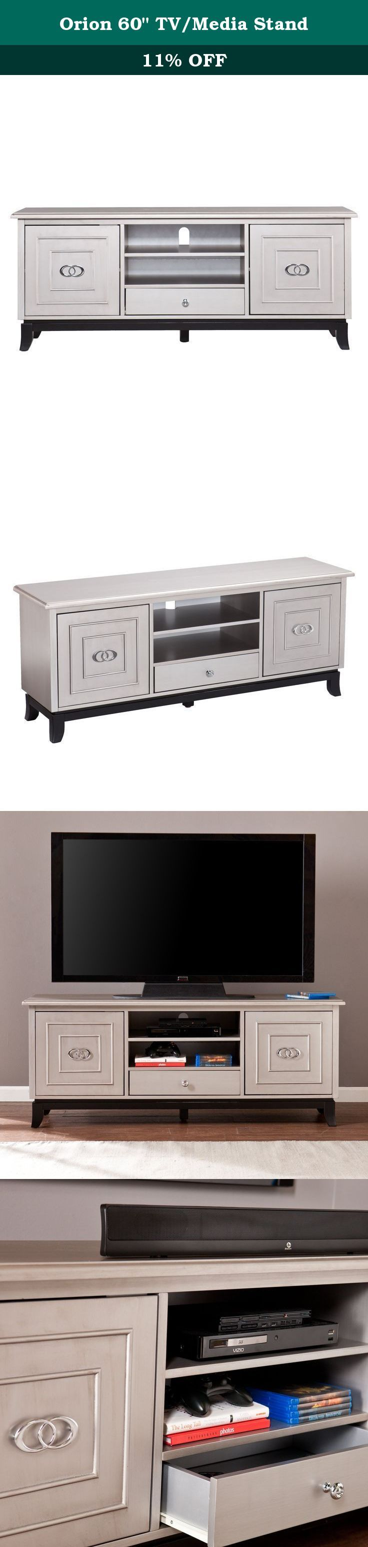 """Orion 60"""" TV/Media Stand. Add the perfect finishing touch to your living room with this sophisticated media stand. A wide, low profile and flared legs bring subtle Asian influence to the clean design. The antique gray body, black base, and chrome hardware complement contemporary décor. Open media shelves are ideal for consoles, while ample closed storage organizes plenty of movies, games, and accessories to entertain your every whim. This item accommodates a flat panel TV up to 58"""" W..."""