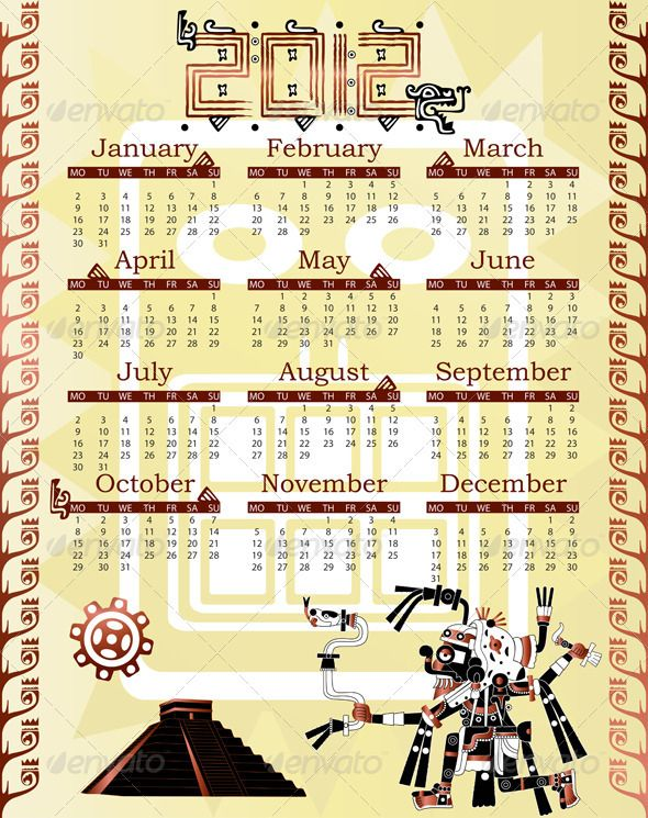 Calendar in mayan style by sateda2012 Vector of Calendar 2012 in mayan style with god.EPS(8 version),JPG(39585000 pixels,RGB )