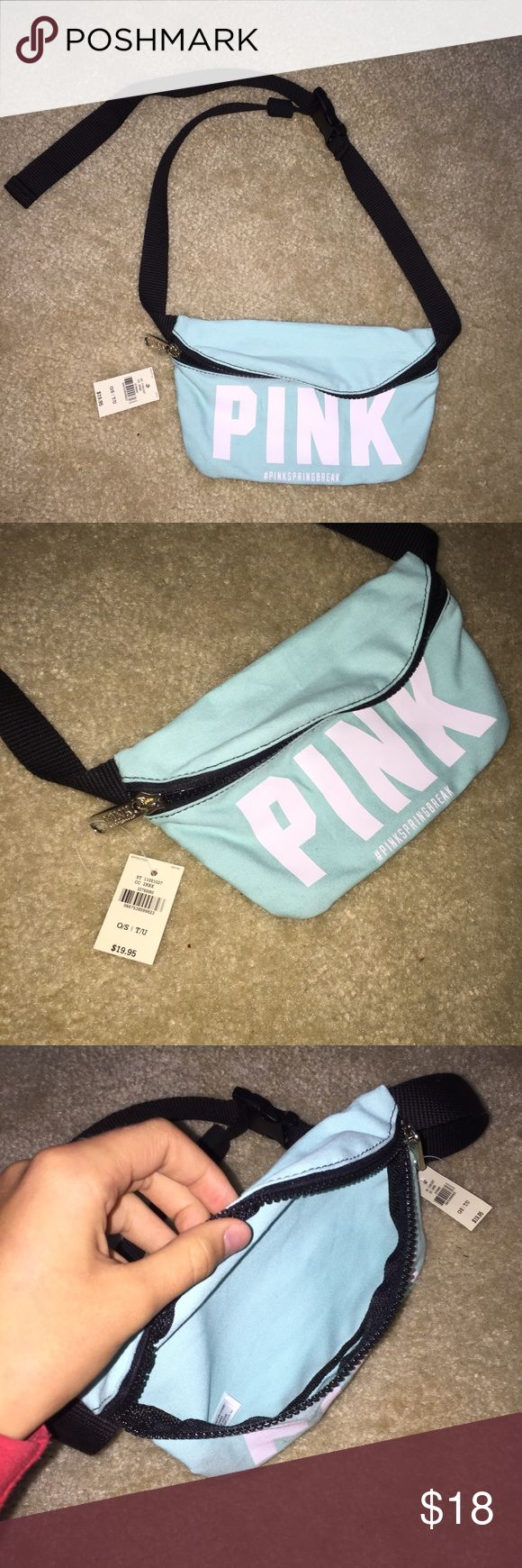 Fanny pack A super cute fanny pack by pink! Light turquoise. Tags still on!!!!! PINK Victoria's Secret Bags