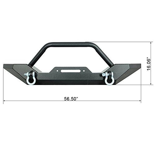E-Autogrilles 87-06 Jeep Wrangler TJ YJ Front Bumper with 2x D-ring & Winch Plate (51-0034)