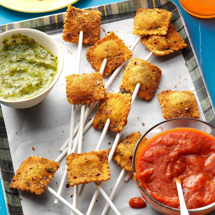 Ravioli Appetizer Pops Recipe -Ravioli on a stick is a tasty appetizer everyone talks about. They're simple, easy and fun. You can use packaged dipping sauces, or make your own. Get my recipes on my blog, thehopelesshousewife.com. —Erika Monroe-Williams, Scottsdale, Arizona