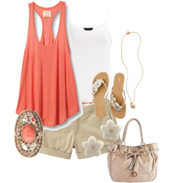 Tan&Coral Love love these two colors together!  Great beach vacation outfit!