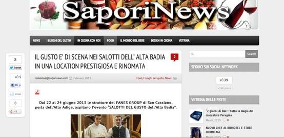 I Salotti del Gusto su Sapori News: http://www.saporinews.com/2013/02/il-gusto-e-di-scena-nei-salotti-dell-alta-badia-in-una-location-prestigiosa-e-rinomata/