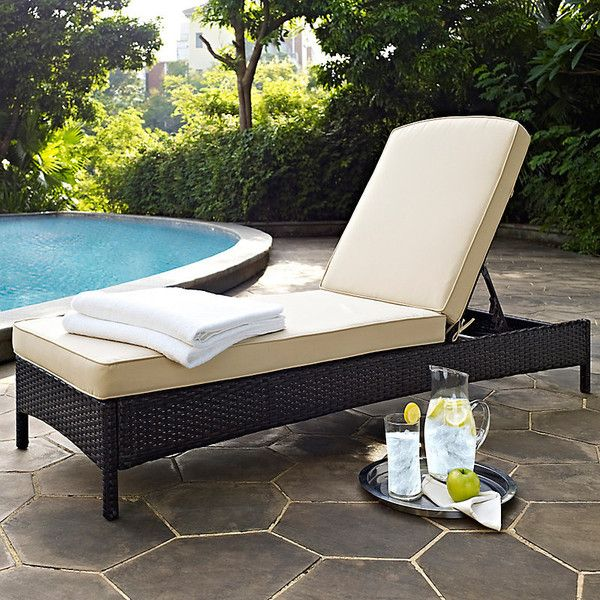 palm harbor resin wicker chaise lounger with cushion nok liked on polyvore featuring home outdoors patio furniture outdoor loungers u0026 day beds - Lounge Chair Outdoor