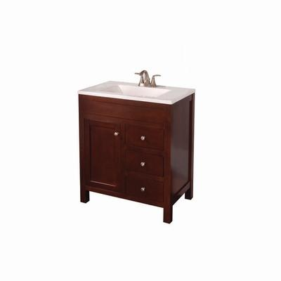 St Paul Wyoming 30 Inch X 18 Inch Vanity In Hazelnut With Vanity Top In Alpine Wy30p2c H