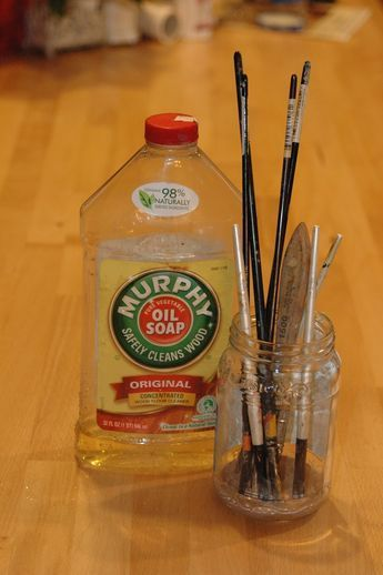Murphy Oil Soap for cleaning paint brushes. I now swear by this! Was truly amazed at how well it cleaned up my dried out and paint filled brushes!