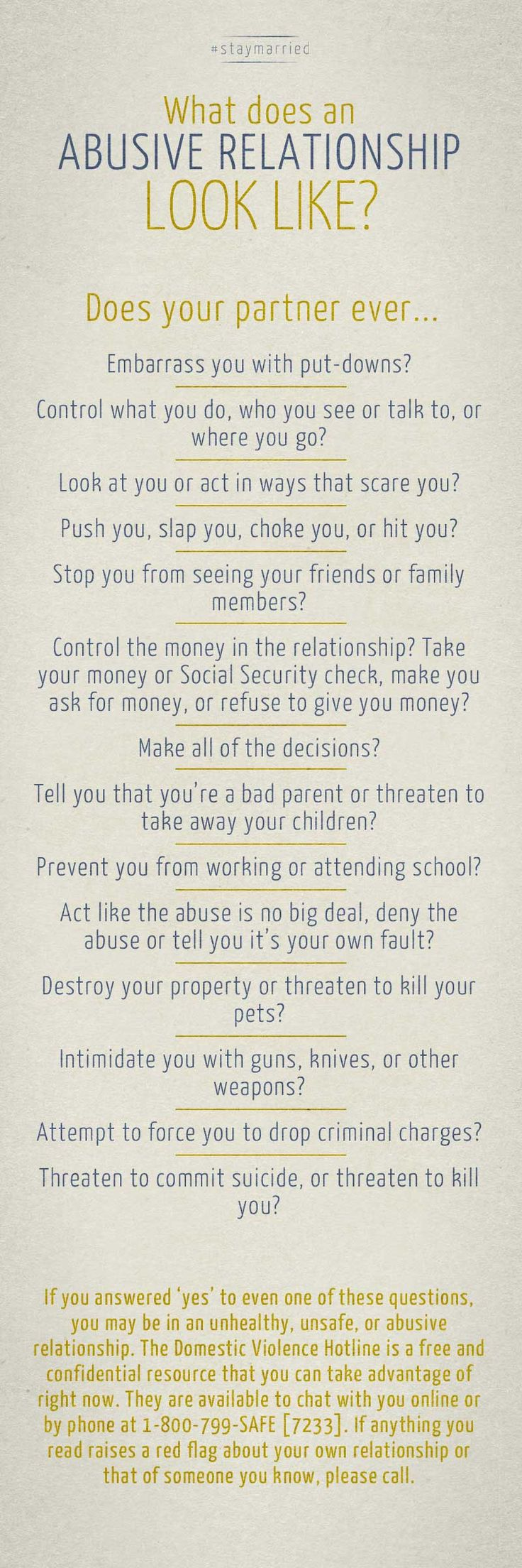 What does an abusive relationship look like? - You might not need this, but someone who follows your PINS probably does. #staymarried