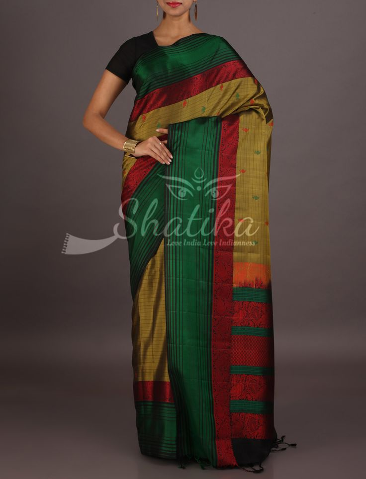 Rashmi Olive Green With Contrast Border Stripe Pallu Pure Mulberry Silk Saree