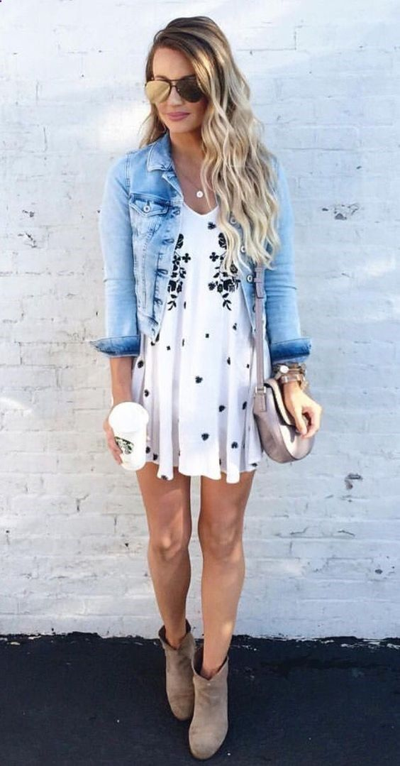 Cropped denim jacket over casual dress, with ankle boots