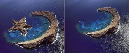 Molokini, Hawaii does NOT have a star island. Look at the surf on the lee shore of the island. Not happening. Also, USSR much?