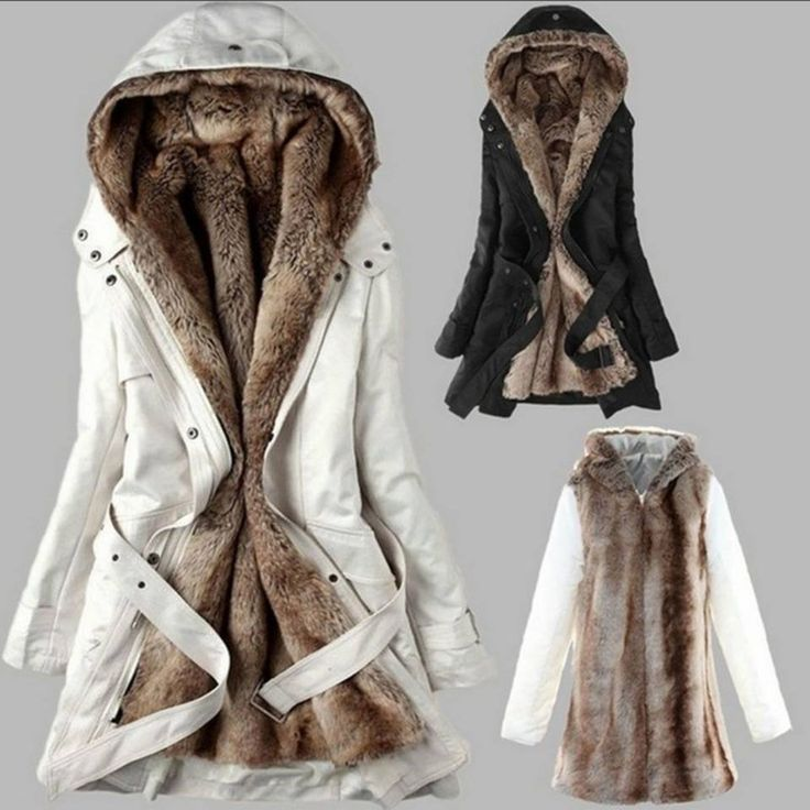 Winter Coats In Fleece Long Sleeves And Fur Inside