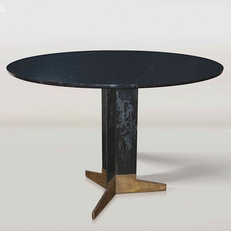 Ignazio Gardella; Brass, Enameled Steel and Marble Center Table, c1950