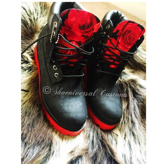 Custom Red Rose Timberlands by ShoeniversalCustoms on Etsy