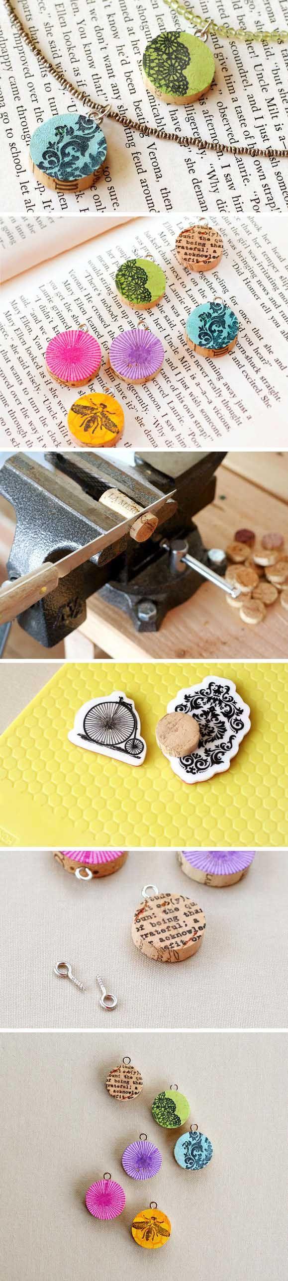 DIY Upcycled Wine Cork Pendants - fiskars.com - Colgante reciclando tapones de corcho