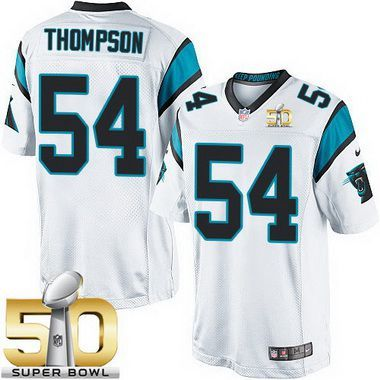 Men's Carolina Panthers #54 Shaq Thompson White Road 2016 Super Bowl 50th Patch Bound Game Jersey