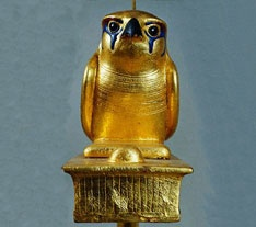 Falcon, one of many animal statues in the tomb - wood overlaid with gold