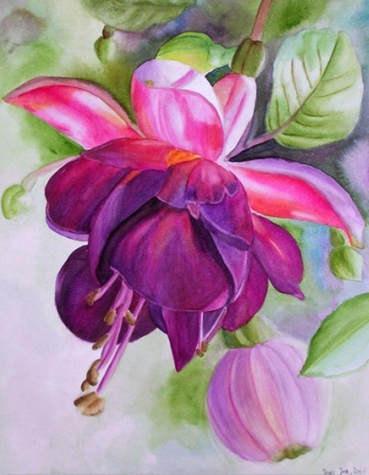 les 80 meilleures images du tableau fleurs fuchsias sur pinterest fleurs d 39 art aquarelle et. Black Bedroom Furniture Sets. Home Design Ideas