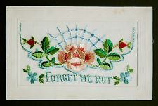 WW1 War Postcard Genuine Embroidered Silk Forget Me Not