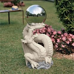 Sir Sagremor's Dragon Sculpture with Glass Gazing Orb.