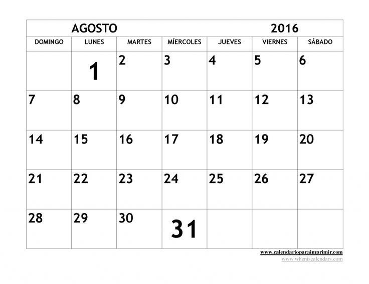 Calendario Agosto 2016 para imprimir gratis