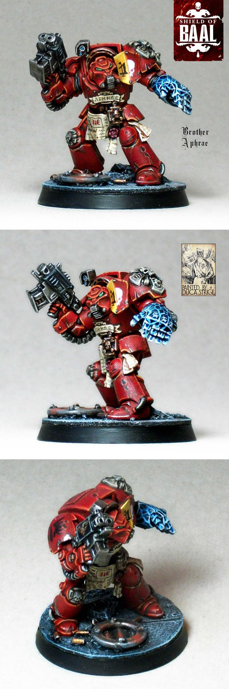 Blood Angels Terminator Brother Aphrae of squad Alphaeus, from the Deathstorm box set.