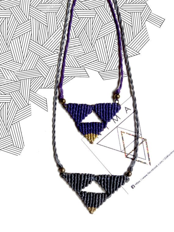 #geometric #macrame #nima #necklace  Hey, I found this really awesome Etsy listing at https://www.etsy.com/listing/515696897/the-trinity-macrame-necklace-in-grey